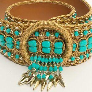 Boho Festival Gold and Turquoise Beaded Belt